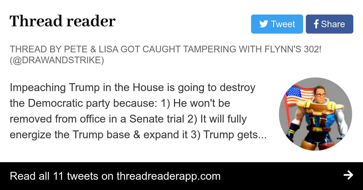 """Thread by @drawandstrike: """"Impeaching Trump in the House is going to destroy the Democratic party because: 1) He won't be removed from office in a Senate trial 2) It w […]"""""""
