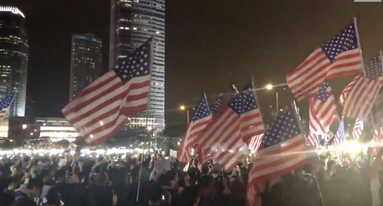 [VIDEO] Hong Kong Protesters Sing American National Anthem to Thank Trump for Signing China Bills