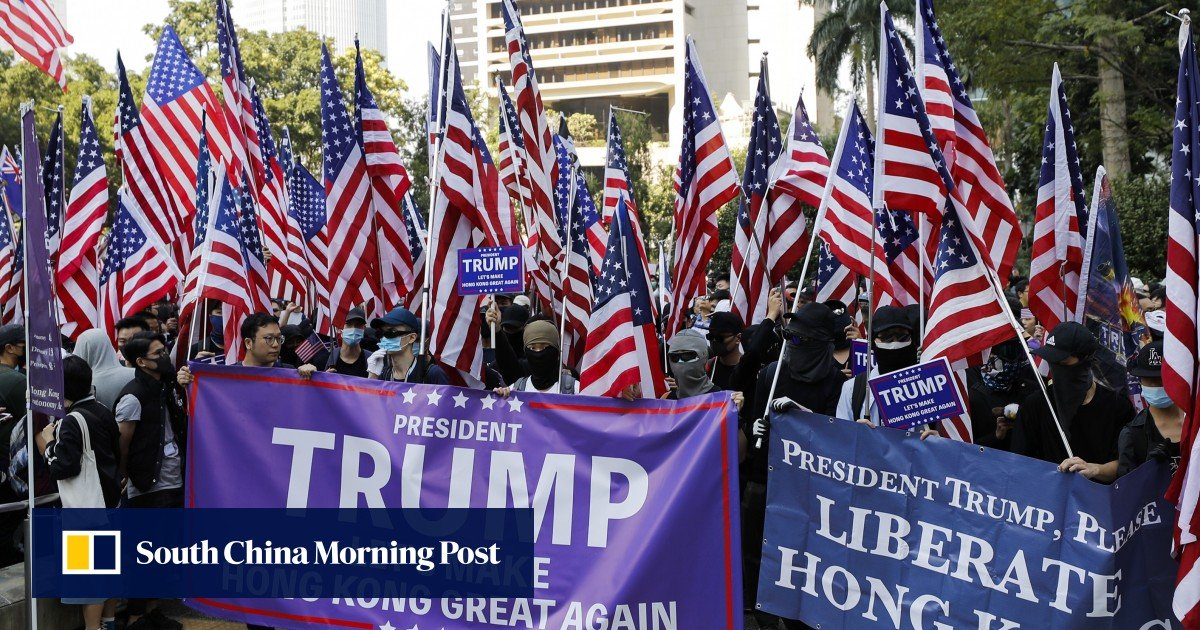 Hundreds gather at Chater Garden to thank US President Donald Trump for signing Hong Kong Human Rights and Democracy Act | South China Morning Post